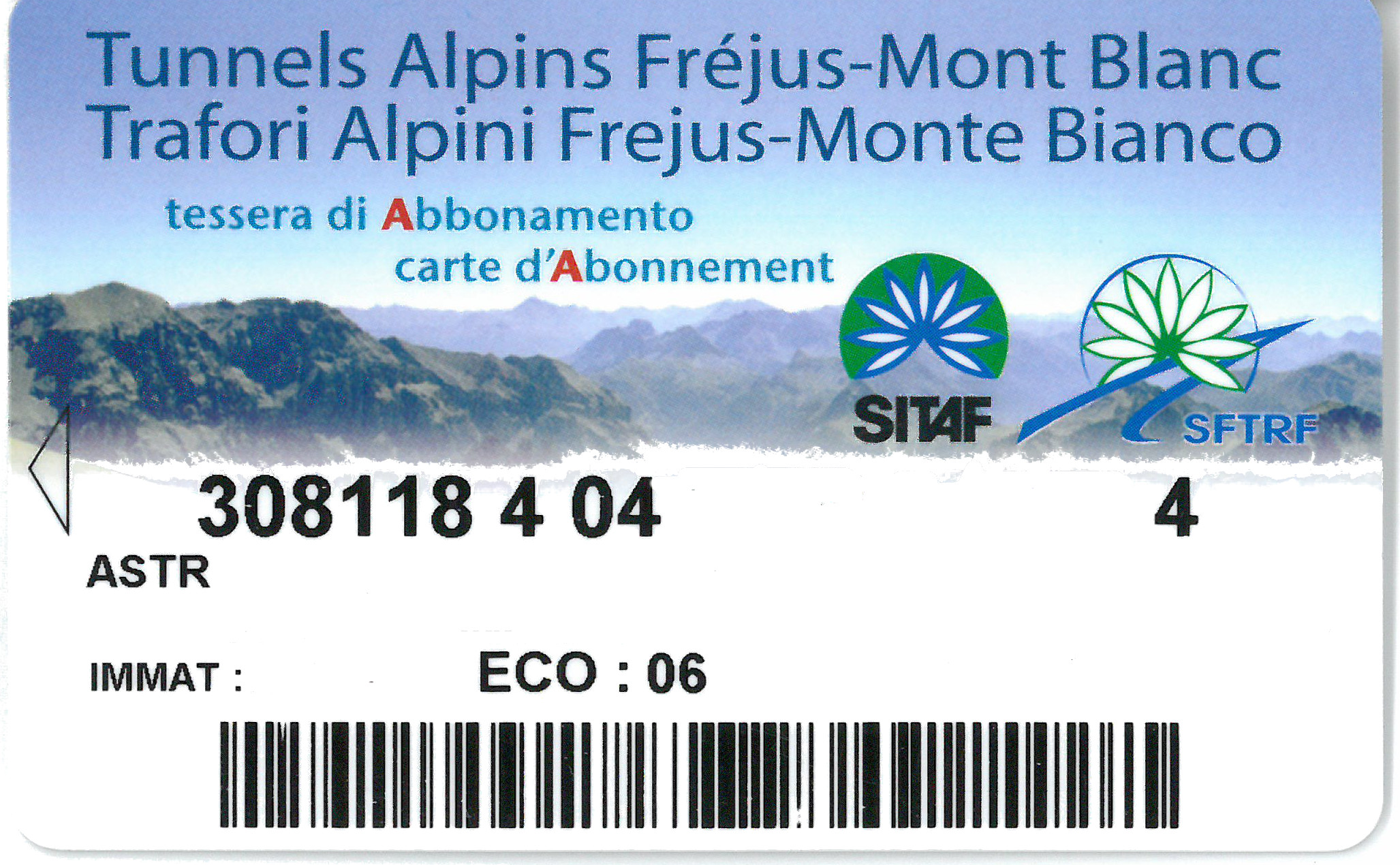 CARTE ABONNEMENT FREJUS-MT BLANC