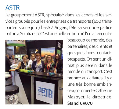 SOLUTRANS-2017-Quotidien 25.11 Article ASTR
