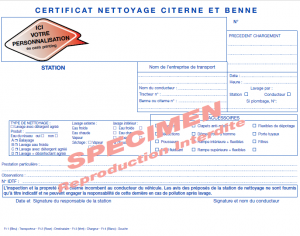 Certificat nettoyage citerne et benne